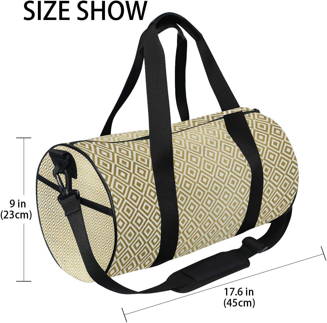 MALPLENA Shinning Golden Square Combination Pattern Drum gym duffel bag women Travel Bag