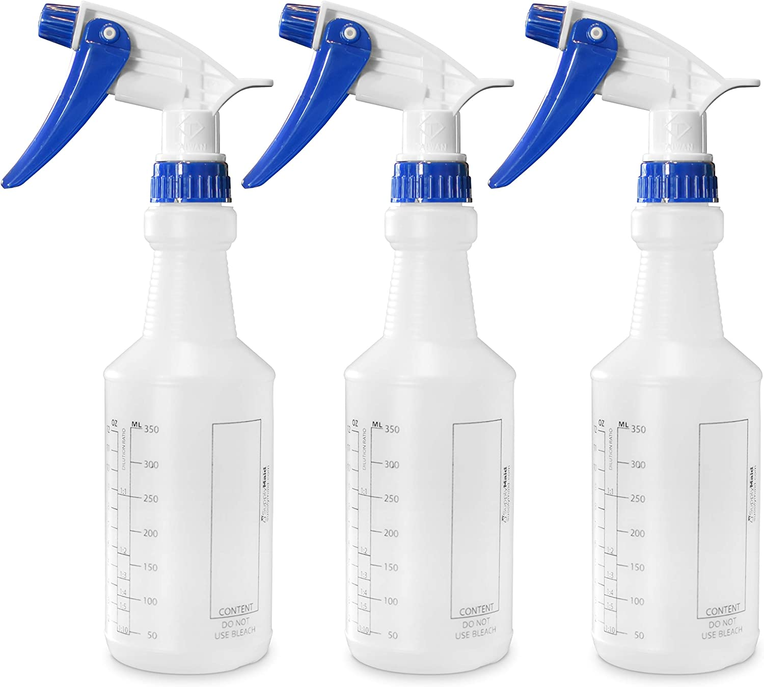SupplyMaid Commercial-Grade 16 oz Spray Bottles with Dilution Ratios/Ounces/mL    Cleaning & Food Safe    Highest-Quality Leak-Proof Rubber, Steel, HDPE Components    Blue 3-Pack