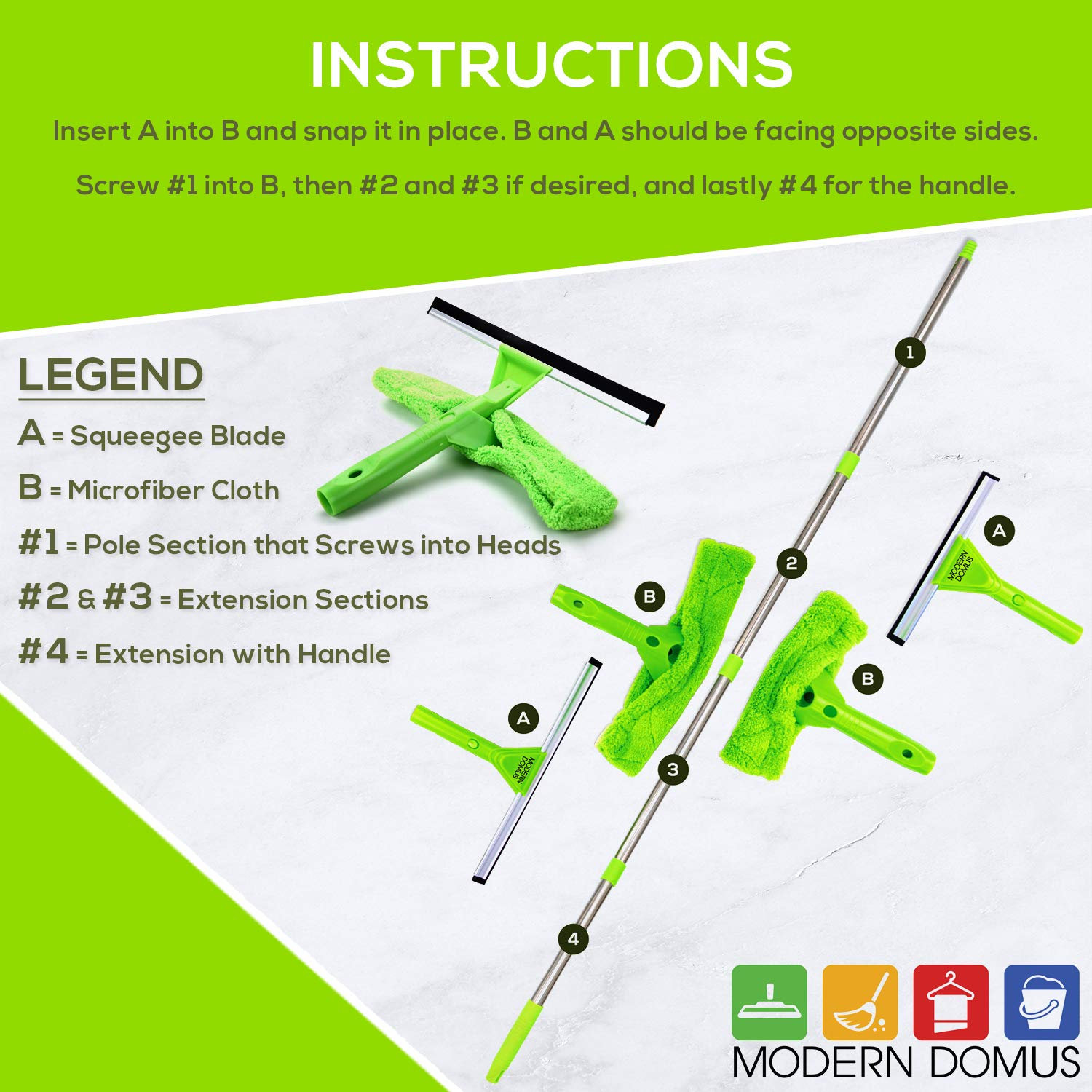 NeverEnding Reach Squeegee Window Cleaner Kit | Shower Squeegee, High Window Cleaning Tools, Car Windshield Tool and Doors - Indoor / Outdoor Washing Equipment with Extension Pole and 4 Washer Heads by Modern Domus (Image #3)