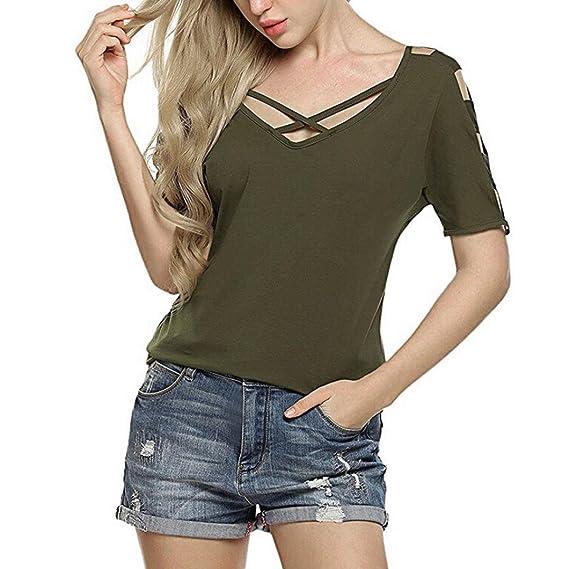 ASHOP Camisetas Muje, Camisetas Manga Corta Tallas Grandes EN Oferta Suelto Tops Blusas de Mujer Elegantes de Fiesta Baratas Verano Frente Cruzado T-Shirt ...
