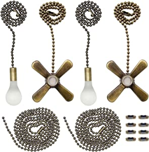 Iceyyyy Bronze Ceiling Fan Pull Chain Set Including 4Pcs Beaded Ball Fan Pull Chain Pendant,Extra 8Pcs Beaded and Pull Loop Connectors, 2Pcs 35.4 inches Fan Pull Chain Extension
