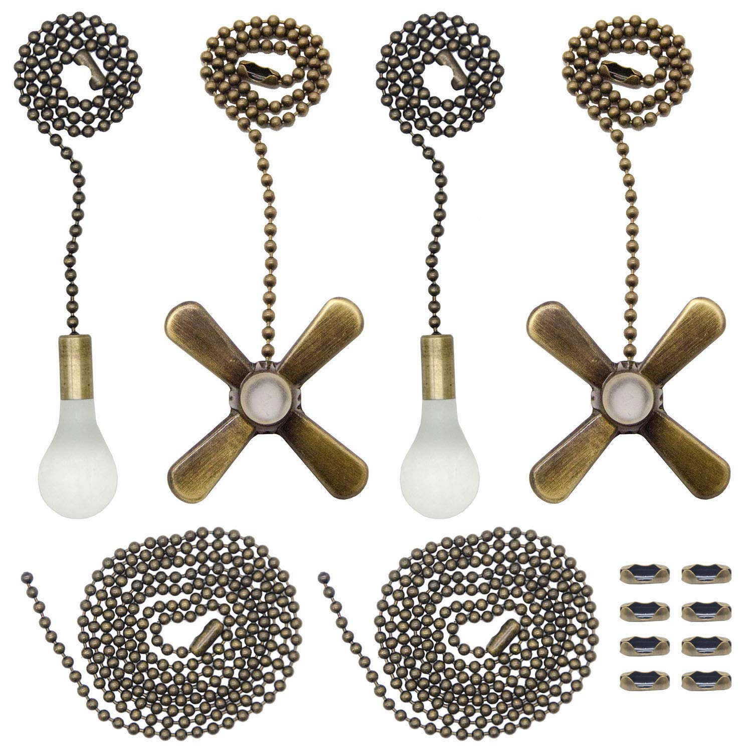 Iceyyyy Bronze Ceiling Fan Pull Chain Set Includes 4 Pieces 12 Inchs Light Bulb & Fan Shaped Pull Chains, 35.4 inches Bead Pull Chain and 4 Pieces Extra Connectors