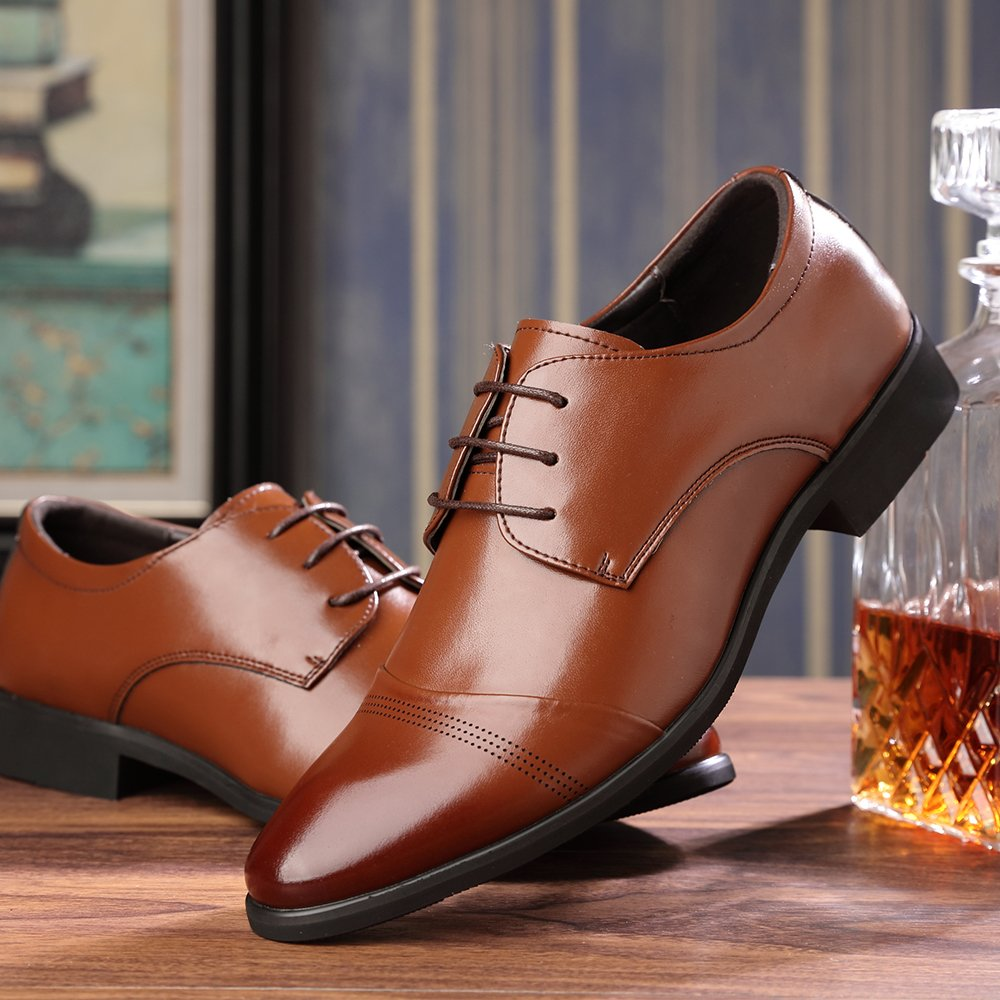 OUOUVALLEY Lace up Patent Leather Oxford Dress Shoes Formal Wedding Shoes 8808 (10 D(M) US, Brown) by OUOUVALLEY (Image #5)
