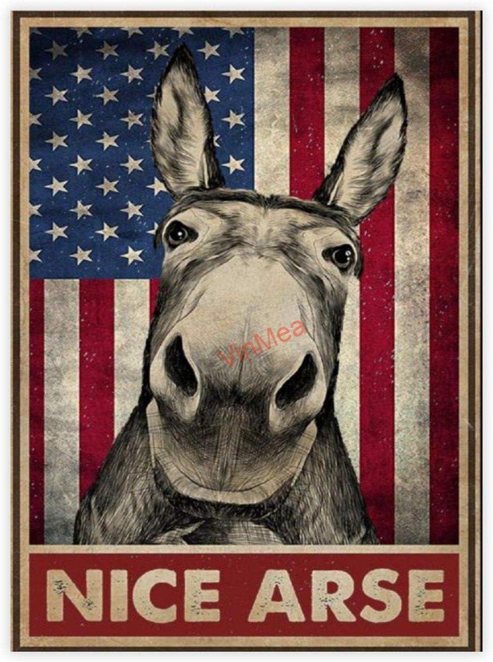 VinMea Decorative Art Printing Poster Donkey Nice Arse American Flag Poster - Wall Art Print Home Decor 16 X 24 Inch Unframed