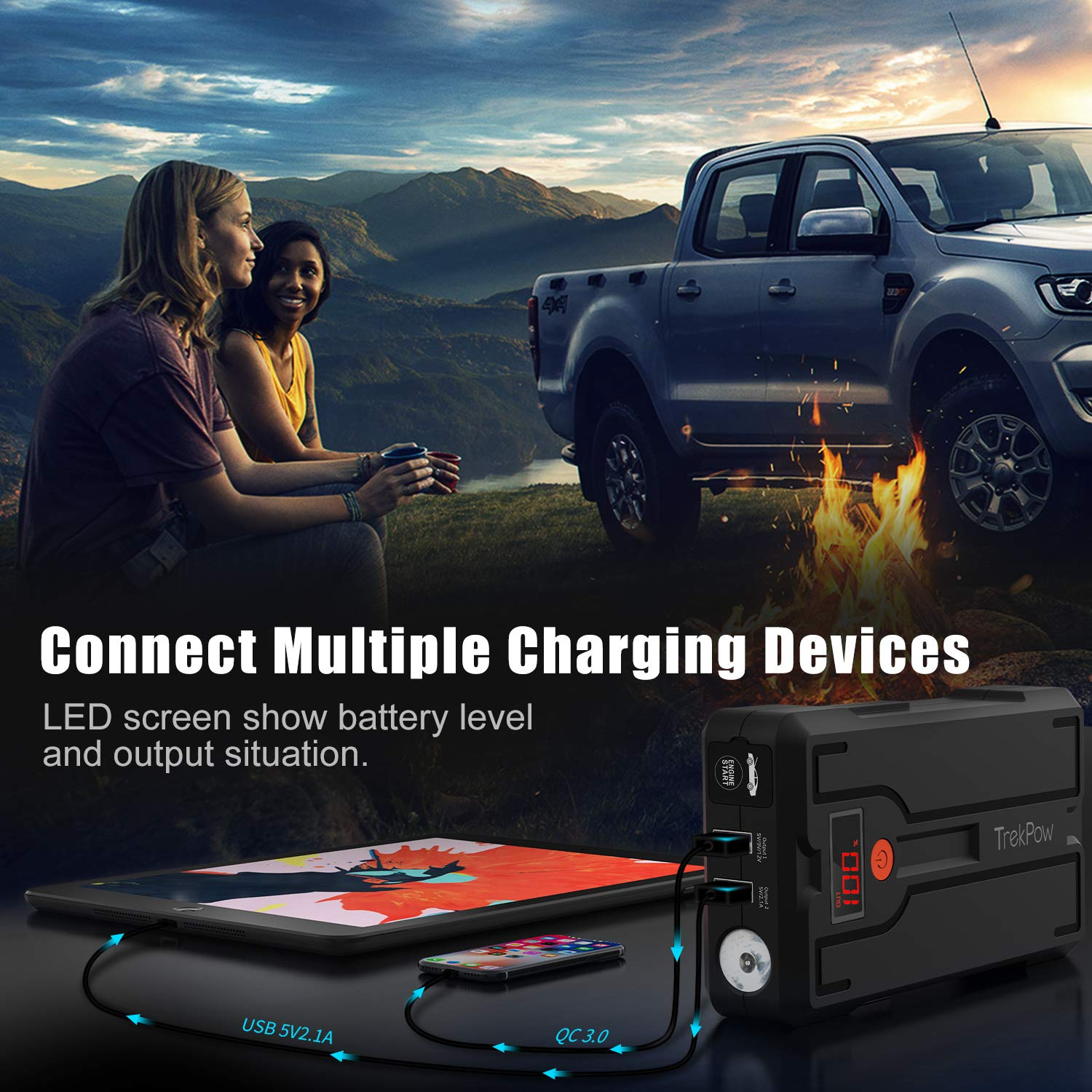 Type-C Input/&Output QC3.0 TrekPow 1200A Peak 12V Auto Upgraded Battery Booster Pack for Engines up to 6.5L Gas//5.5L Diesel with UltraSafe Smart Clamps Car Jump Starter LED Flashlight
