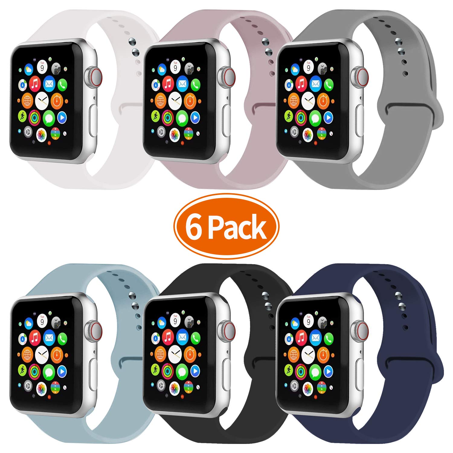 IYOU Sport Band Compatible with Watch Band 38MM 42MM 40MM 44MM, Soft Silicone Replacement Sport Strap Compatible with 2018 Watch Series 4/3/2/1 (6 Pack A,38MM, S/M) by IYOU