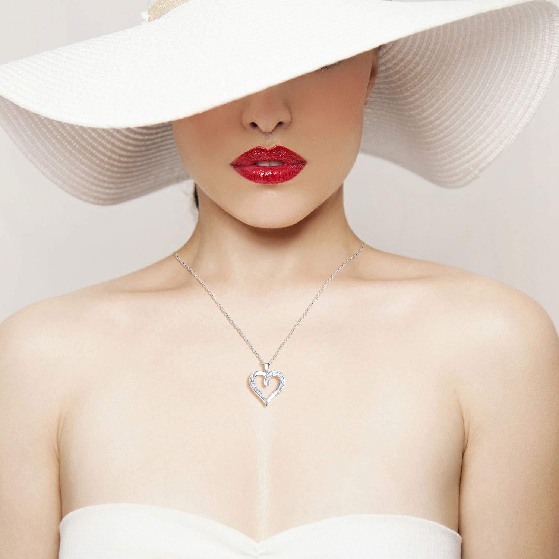 Billie Bijoux 925 Sterling Silver Infinity Love Heart Necklace Platinum Plated Round CZ Diamond Fine Woman's jewelry 18'' by Billie Bijoux (Image #4)