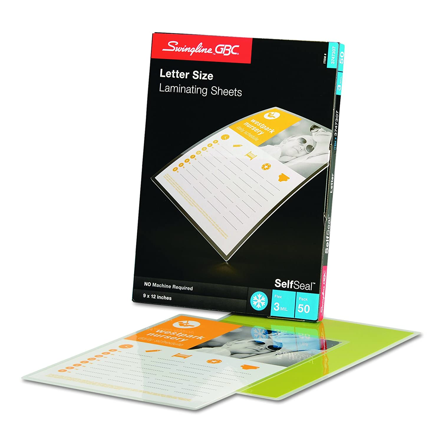 Swingline GBC SelfSeal Self Adhesive Laminating Sheet, Letter Size, Glossy, 3 Mil, 50 Pack (3747307) ACCO Brands DOBA-GBC3747307