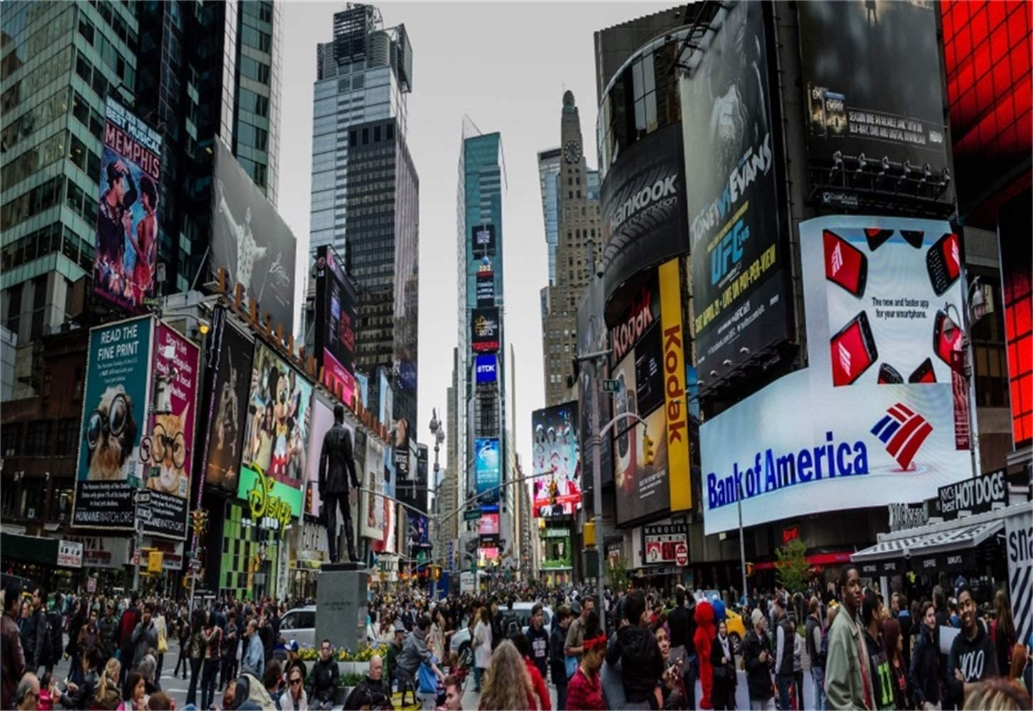 7x5ft New York Times Square Vinyl Photography Background Bustling Street Statue Crowded People Serried Advertising Board Backdrop Flourishing Cityscape Wallpaper Tourism Shoot
