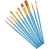 Elisel Paint Brush Set, 10 pcs Nylon Hair Art Paint Brushes for Acrylic Painting for Acrylic Oil Watercolor, Face Nail Art, M