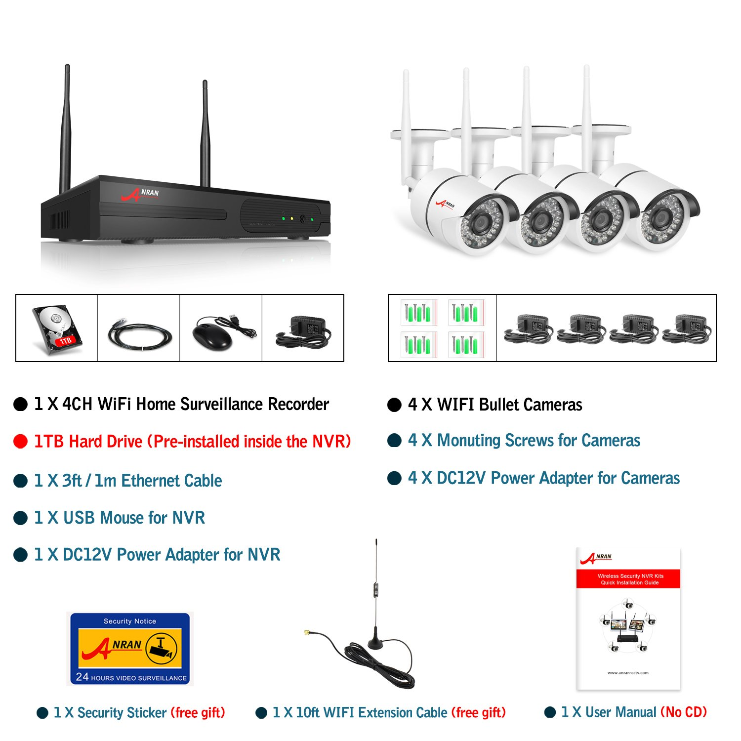 Anran Wireless Security Camera System, 4Ch 1080P Video Surveillance System,