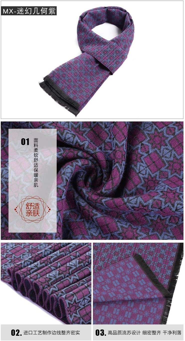 Color : Purple, Size : One Size MDYHJDHYQ Mens Scarf Men Winter Scarves Soft Cashmere Feel Scarves Long Thick Scarves