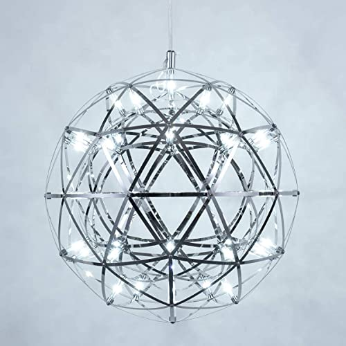 Mzithern LED 42 Lights Fireworks Globe Ceiling Light Fixture Modern Geomtric Chandelier Chrome Cage Pendant Lighting Star Lantern Hanging Lamp Sputnik Chandeliers