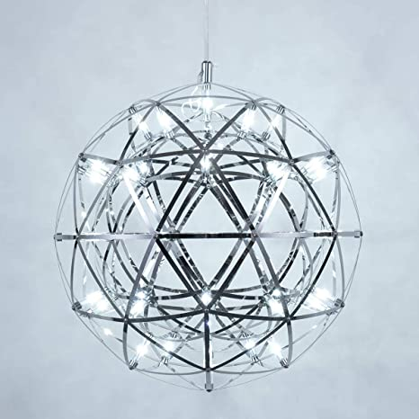 Amazon Com Mzithern Led 42 Lights Fireworks Globe Ceiling Light Fixture Modern Geomtric Chandelier Chrome Cage Pendant Lighting Star Lantern Hanging Lamp Sputnik Chandeliers For Dining Rooms Foyer Cool 16 Inch Home