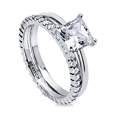 BERRICLE Rhodium Plated Sterling Silver Princess Cut Cubic Zirconia CZ Solitaire Engagement Ring Set ViZeLMMDyV