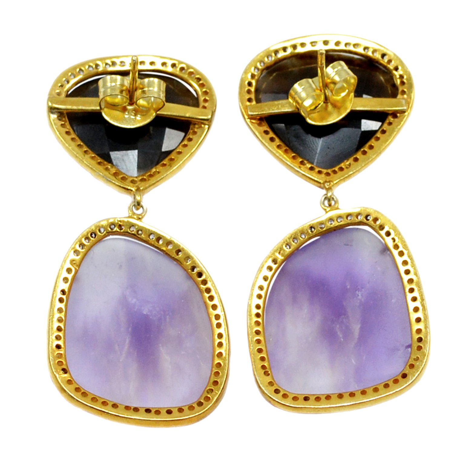 Handmade Jewelry Manufacturer 1 Pcs 18x20 25x20 Amethyst /& CZ Yellow Vermeil 925 Sterling Silver Prong Setting Earring Jaipur Rajasthan India