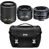 Nikon Super Three Lens Starter Bundle - 35mm, 50mm, & 55-200mm Zoom Lens (Certified Refurbished) AF-S DX NIKKOR 55-200mm f/4-5.6G ED VR II, 50mm F/1.8 D AF, AF-S DX 35mm F/1.8G Lens & Deluxe SLR Bag
