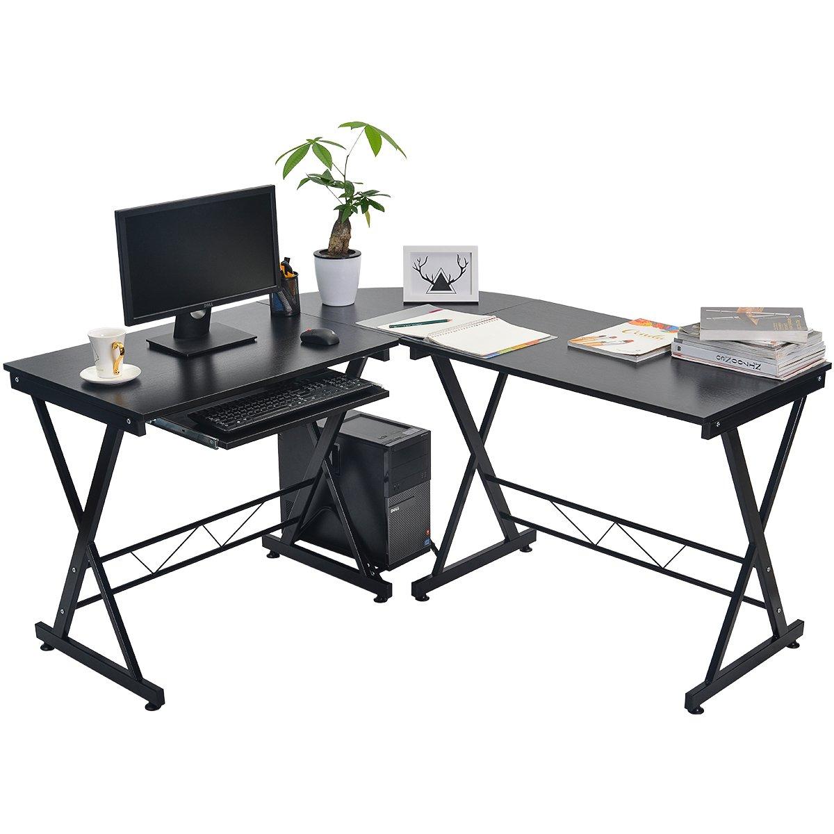 Merax Schreibtisch Große Computertisch Eckschreibtisch Bürotisch PC Tisch  Mit Und Tastaturauszug, Für Hausaufgaben Und Büroarbeit 145 ...