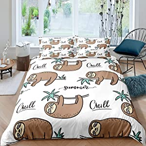 Feelyou Sloth Duvet Cover Set Cartoon Sloth Print Bedding Set for Kids Boys Girls Summer Beach Vacation Comforter Cover Cute Animal Pattern Quilt Cover Bedroom Collection 2Pcs Twin Size