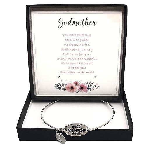 Pulsera con texto en inglés «Best Godmother Ever» con caja de regalo y tarjeta