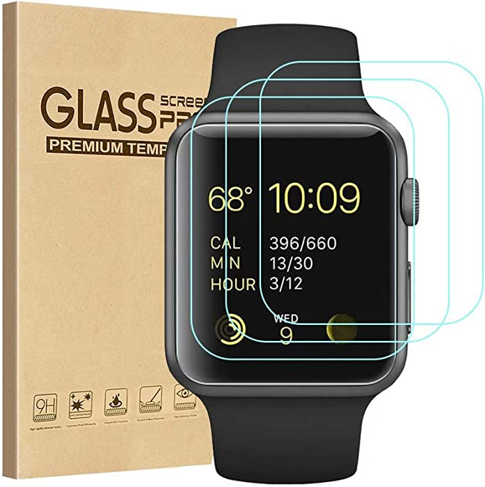Tourist [3 Pack] Compatible for Apple Watch Tempered Glass Screen Protecto 38mm Series 3 / 2 / 1, 9H Hardness, Anti-scratch, Anti-fingerprint, Anti-bubble Easy Installation with Lifetime Replacements