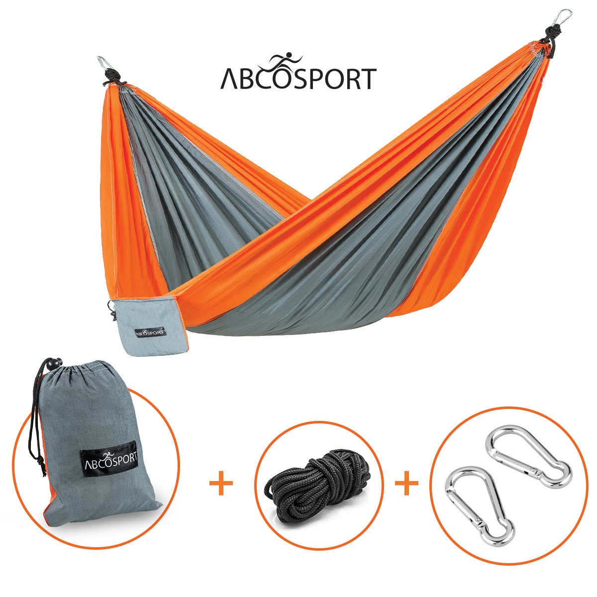 Camping Hammock - Portable Double Strong Nylon Parachute for Traveling, Hiking, Backpacking, Climbing & Outdoor Sleeping - Lightweight - Hammock Straps & Steel Carabiners Included - Easy to Install. by Abco Tech B01BCSRAOW