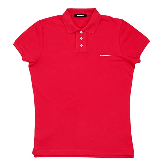 DSquared 3 Button Pique Polo Shirt with Logo in Red DSQ6286  Amazon ... 49fe7a938dd1