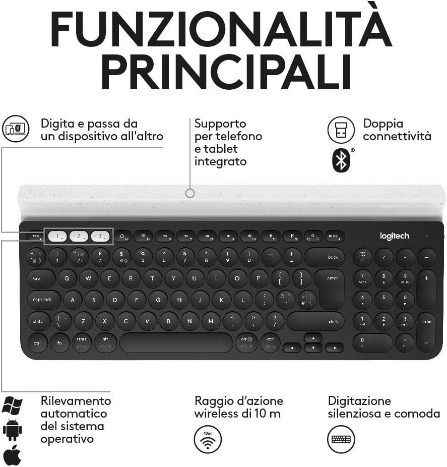 Logitech K780 Teclado Inalámbrico Multi-Dispositivos para Windows, Disposición QWERTY Italiano, Gris
