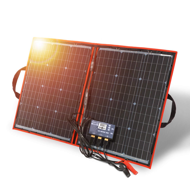 DOKIO Panel Solar PLEGABLE 100w 12v monocristalino portátil, impermeable, ideal para la energía solar al aire libre, embarcaciones, camping, caravanas o autocaravanas