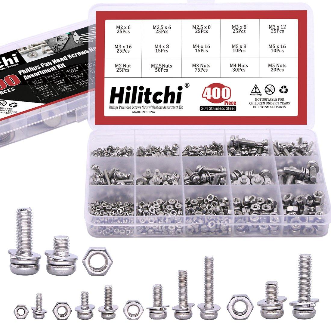 Hilitchi 400pcs M2 M2.5 M3 M4 M5 Phillips Pan Head Screws Nuts w Washers Assortment Kit - 304 Stainless Steel