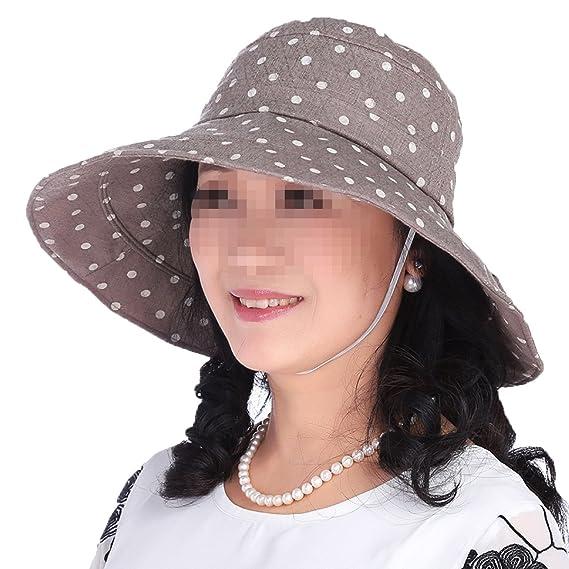 NIAIS Gorras De Sol Para Mujer Polka Dots Gorro De Tela Plegable Summer  Beach Cap UV Protection Free Size  Amazon.es  Ropa y accesorios e4be6c6effa