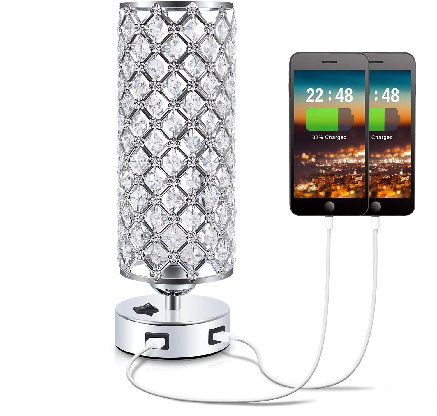 USB Crystal Table Lamp,Kakanuo Bedside Table Desk Lamp with Dual USB Charging Port,Modern Nightstand Lamp for Bedroom,Living Room,Office