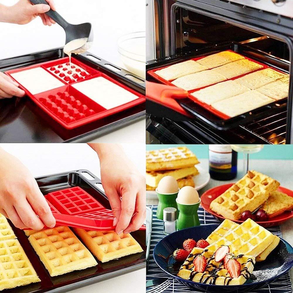 Molde de Silicona para Waffle, 2 Piezas Corazón y gofres belgas Baking Mold Chocolate Mold Cake Mold Mano Molde para hornear molde herramienta