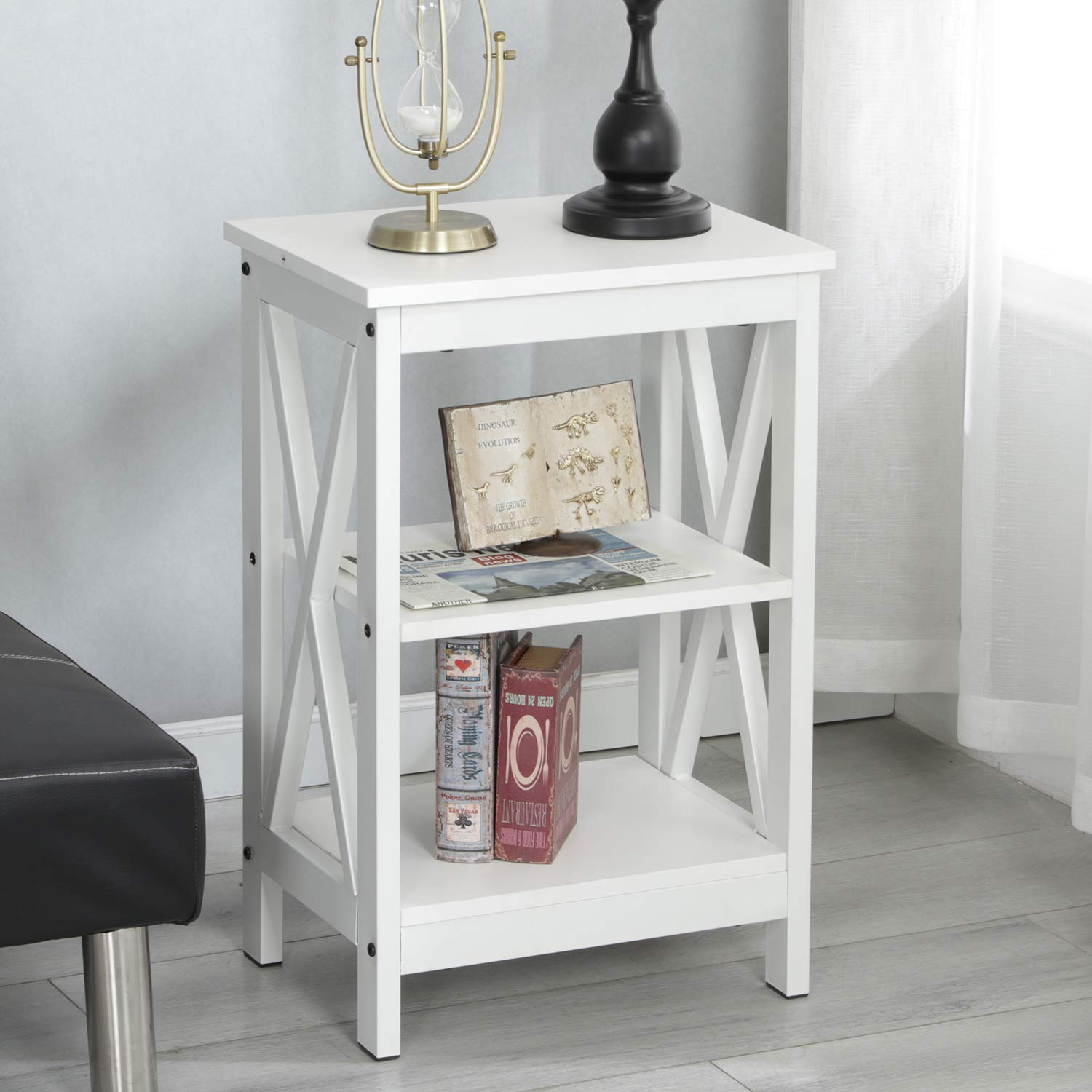 Grote Smalle Sidetable.Soges End Table Coffee Table Night Stand Side Table Sofa Table With 3 Tier Shelf White Dx 240a Xw