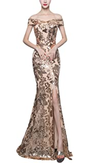 11d5d93110 Fanhao Women s Boat Neck Sleeves Full Sequins Mermaid Gown Front Split Long  Prom Dress