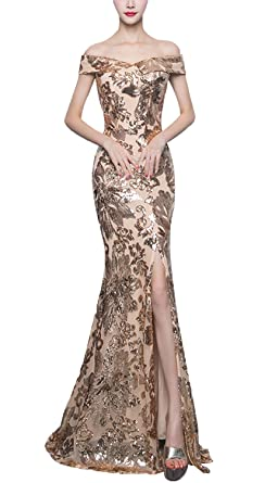 b4952b9cfc67 Fanhao Women's Boat Neck Sleeves Full Sequins Mermaid Gown Front Split Long  Prom Dress,Golden