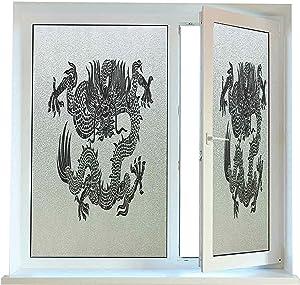 Decorative Window Films for Glass Japanese Dragon Window Stickers 24