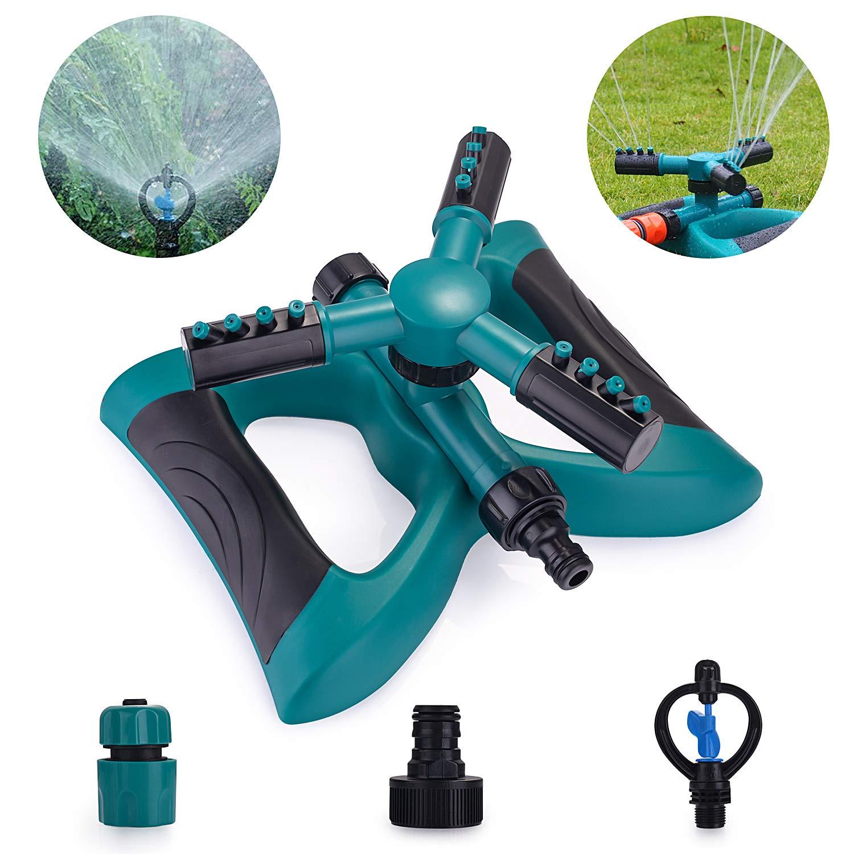 Spruzzatore da Giardino con Rotazione a 360 /° Sprinkler da Giardino Irrigatore per Giardino Verde Spruzzatore a 3 Bracci con Braccio e 2 Diverse modalit/à di Ugello