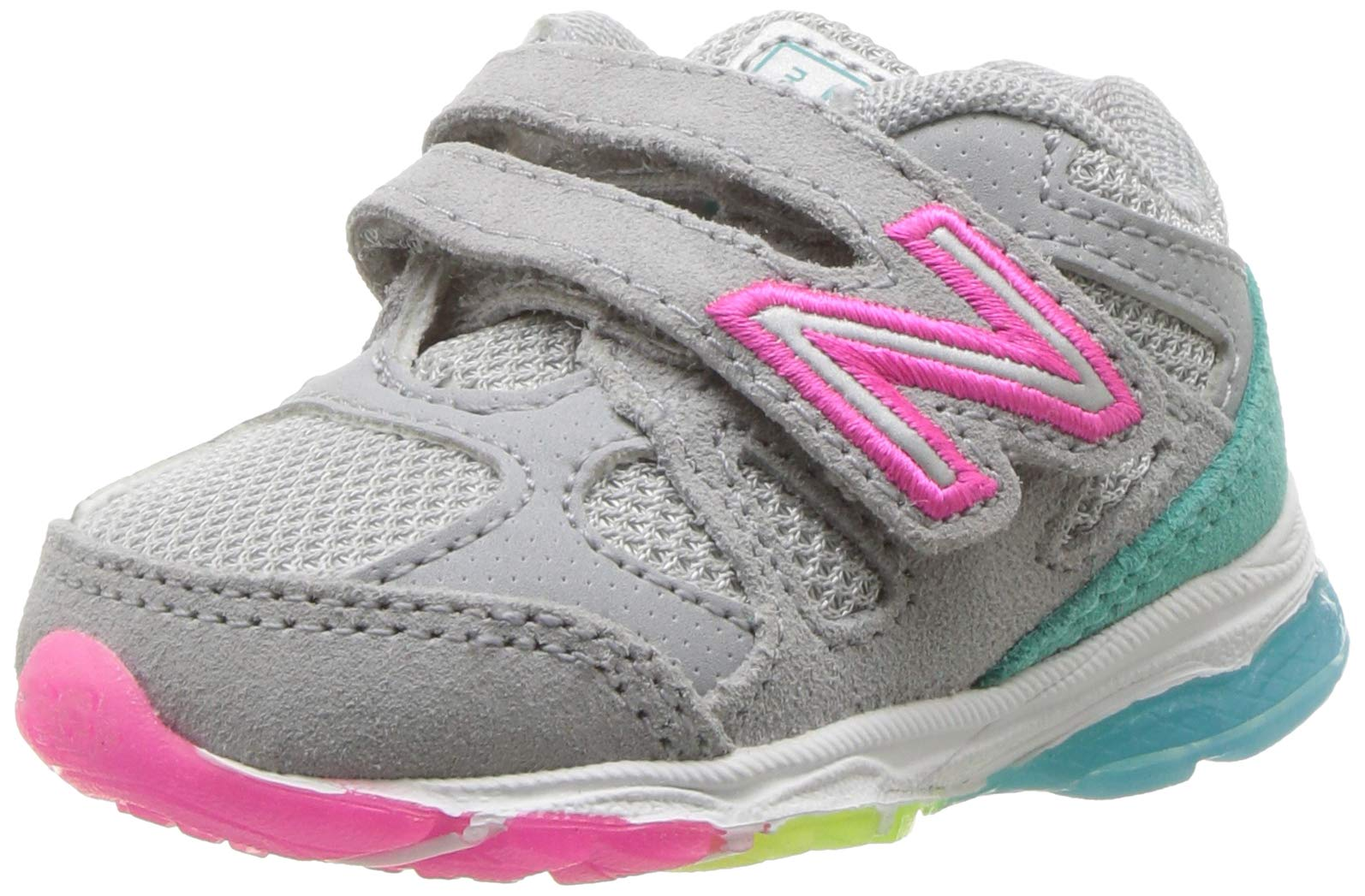 New Balance Girls' 888v1 Hook and Loop Running Shoe, Silver Mink/Rainbow, 8 M US Toddler