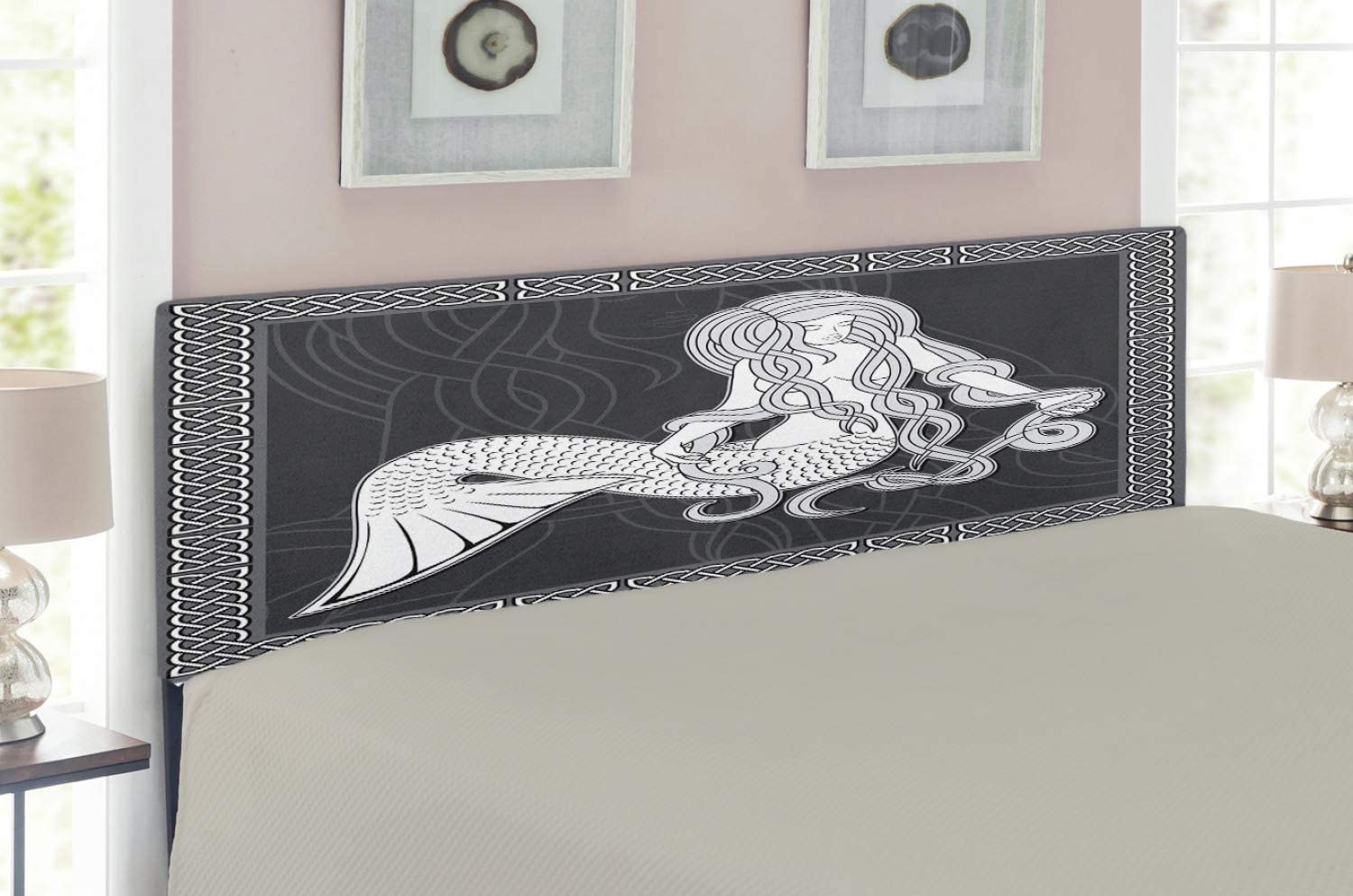Ambesonne Mermaid Headboard, Retro Art Illustration of a Mermaid Brushing Hair and Border with Celtic Patterns, Upholstered Decorative Metal Bed Headboard with Memory Foam, Full Size, Grey