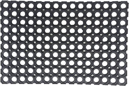 Captivating Coco Mats N More Honeycomb Pattern Rubber Door Mat, Black