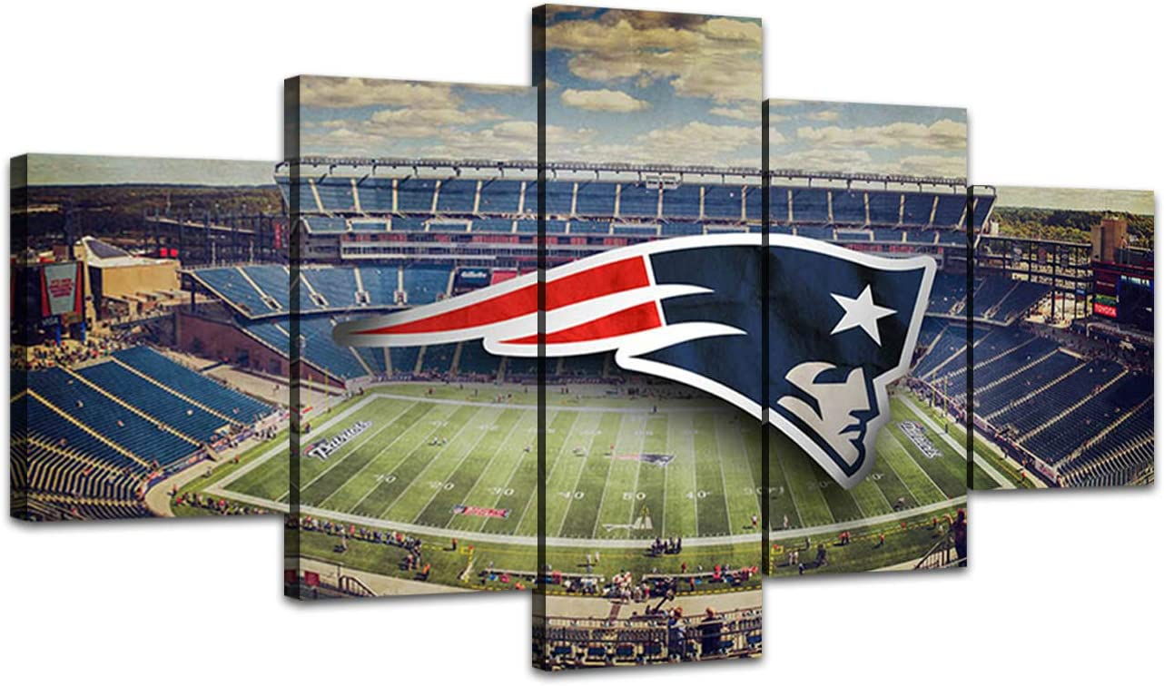MIAUEN New England Patriots Wall Pictures Canvas Art Living Room Decor Sports Football Posters Prints Painting Frame Home Decoration Ready to Hang(60''Wx32''H)