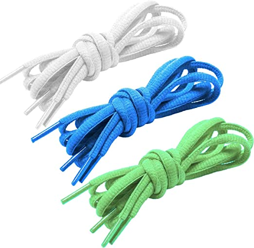 White Round Shoelaces Green Blue