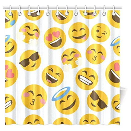 InterestPrint Funny Emoji Shower Curtain Cartoon Like Smiley Faces Of Mosters Happy Sad Angry Furious