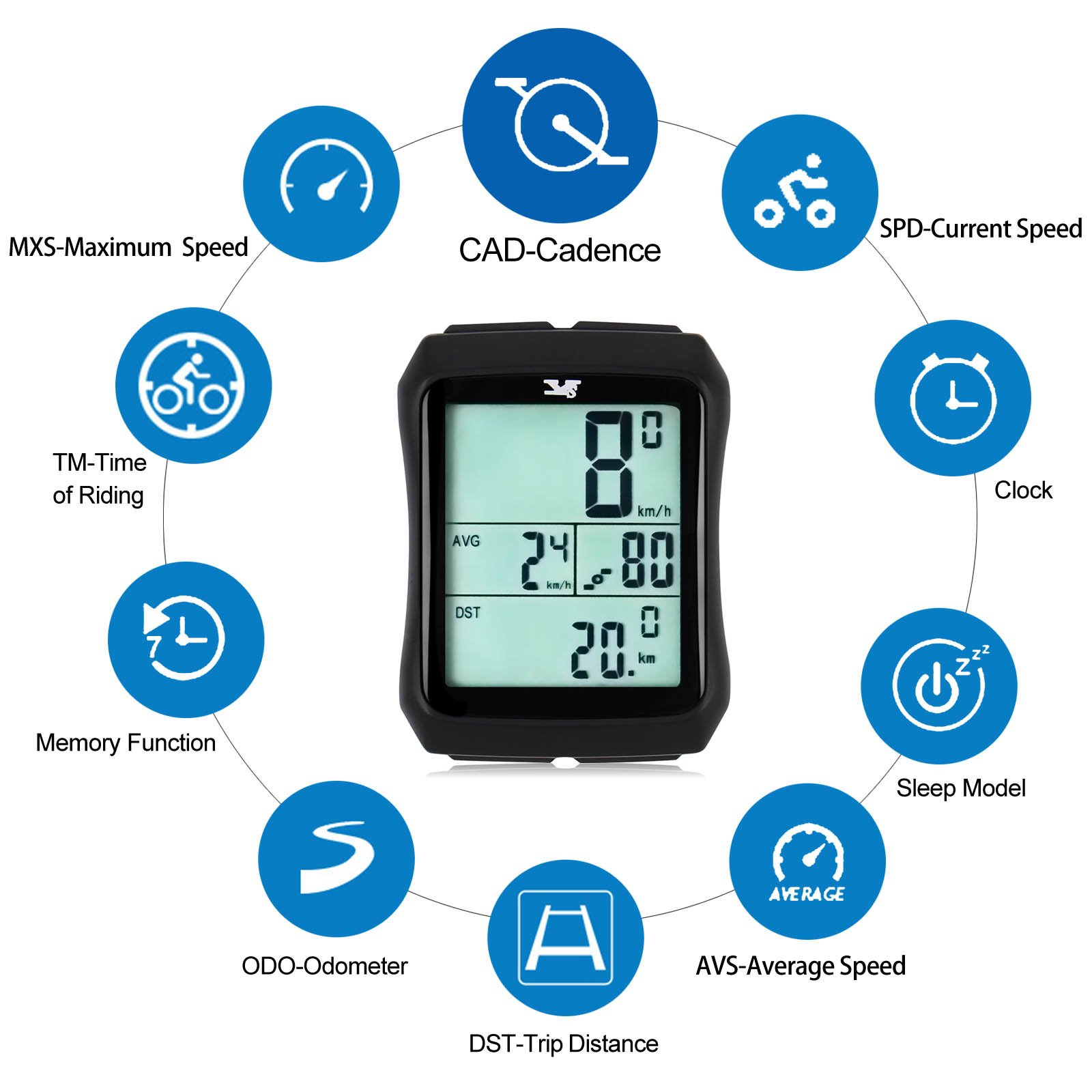 007KK Bike Speedometer Waterproof Wireless Bicycle Bike Computer and Odometer with Cadence Sensor for Outdoor Cycling and Fitness by 007KK (Image #3)