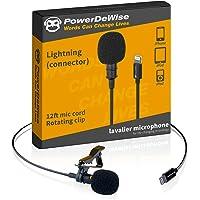PowerDeWise Micrófono Lavalier, iPhone Mic, compatible con iPhone 7, 7 Plus, 8, 8 Plus, X, XR, XS, XS Max, 11, 11 Pro…