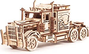 Wood Trick Big Rig Mechanical Toy Truck - 14x6″ - Powerful Rubber Band Motor - Realistic Semi Truck Wooden Model Kit for Adults and Kids - 3D Wooden Puzzle