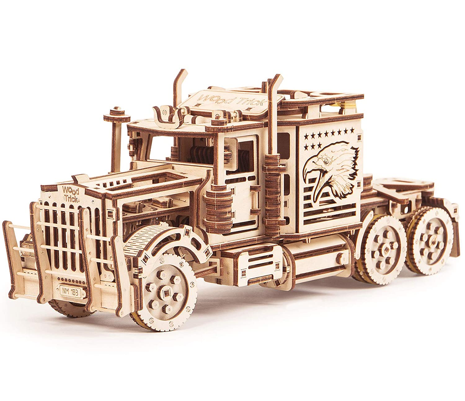 Wood Trick Big Rig Toy Truck, Realistic Semi Truck Model - Super Truck Toy  - 3D Wooden Puzzle, Assembly Toys, ECO Wooden Toys, Best DIY Toy - STEM