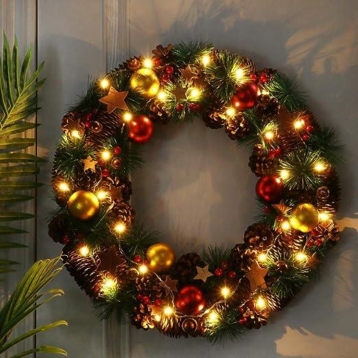 Christmas Wreath Pine Hanging Xmas Wall Door Garland Warm White 100 LED lights