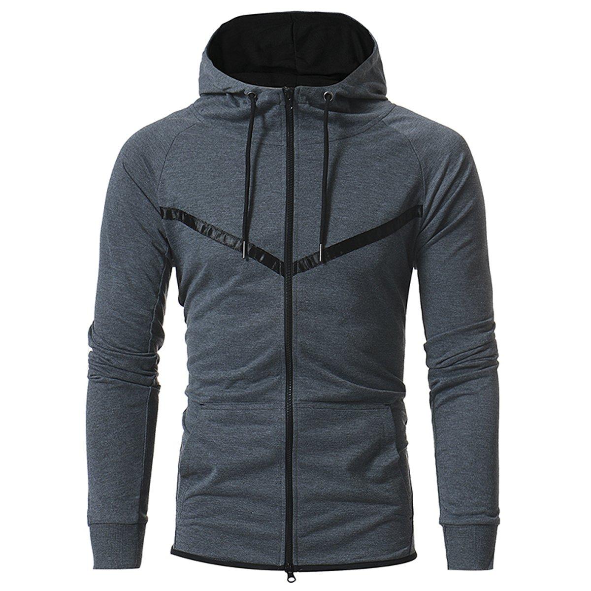 Muzboo Men's Jersey Zipper Hoodie Fitted Long Sleeves Sweatshirt Bodybuilding Workout Gym Running Jogger Hooded Sweatshirt(Gray-XS)